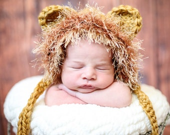 Crocheted baby lion hat, Lion hat, photo prop