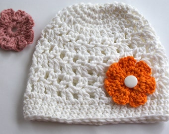 Newborn hat, Baby Girl Hat, White baby Hat, Crochet Hat Baby Girl, take home outfit baby girl