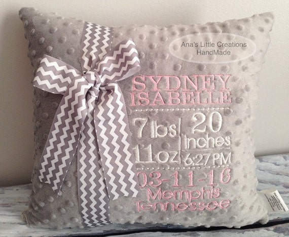 Embroidered Birth Announcement Pillow - New Baby Gift - Personalized Baby Gift - Nursery Decor - Baptism Gift - Christening Gift