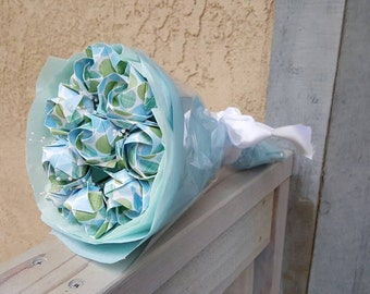 One Dozen Blue and Green Printed Origami Roses