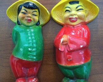 Asian Coolie Hat Chalkware Wall Hanging Figurines