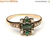 VALENTINE SALE Vintage 10k Yellow Gold Green Gemstone & Seed Pearl 1920s Ring Sz 7