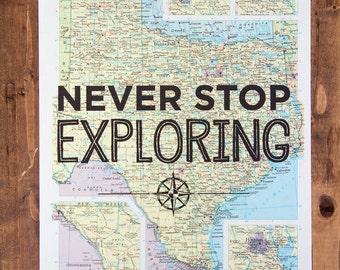 "Texas Map Print, Never Stop Exploring, Great Travel Gift, 8"" x 10"" Letterpress Print"
