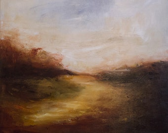 Original  landscape painting, acrylic abstract //BREATHLESS// expressive, atmospheric, modern art