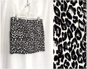 Leopard Mini Skirt Black White Cheetah Vintage Women's XS or Small