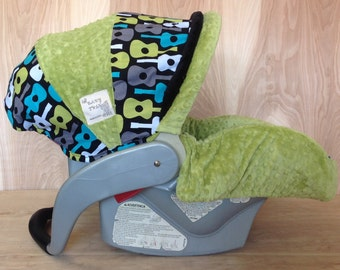 Infant Car Seat Cover- Guitars/ Green