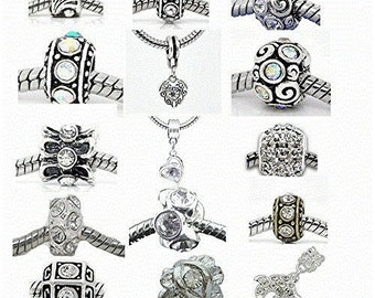 Ten Assorted April Birthstone Charm Beads for Snake Chain Bracelet
