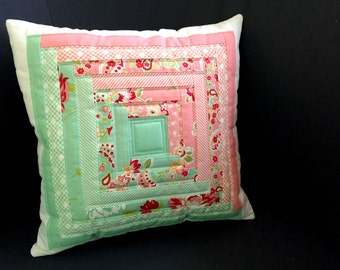 Log cabin patchwork Cushion cover in pink & mint