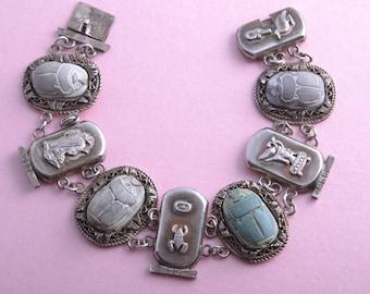 Silver 1920's Egyptian Scarab Bracelet (804d)