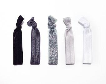 Glitter & Grey Elastic Hair Ties Set