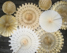 Gold cream champagne tissue fan and honeycomb ball backdrop for wedding cake table backdrop, photo backdrop, or hanging decorations