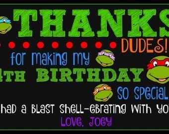 Ninja Turtle Themed Thank You Card - Ninja Turtle Birthday - Digital File - Print Yourself - Birthday - Thank You Card