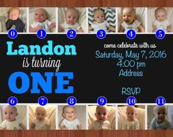 First Birthday Photo Collage Invitation - Blue First Birthday Monthly Photo Invitation - 1-12 Month Photos - Blue - First Birthday