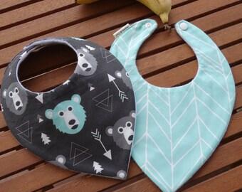 Baby bandana bibs: Bears and herringbone - Set of 2