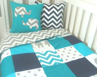 Patchwork quilt nursery set - Turquoise, Navy, Grey and Aqua elephants (grey chevron backing)