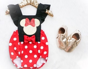 The ORIGINAL / Red & White polka dot Minnie Mouse inspired Romper/ Romper / First Birthday