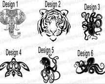"""1"""", 2"""", 3"""", 4"""", 5"""",6"""", up to 23"""" in most colors! Elephant Tiger Turtle Octopus-Customized Vinyl or DIY Iron ons"""
