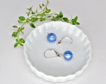 blue pearl earrings, silver blue pearl earrings,  boho pearl earrings, June birthstone earrings, dyed blue freshwater pearl earrings