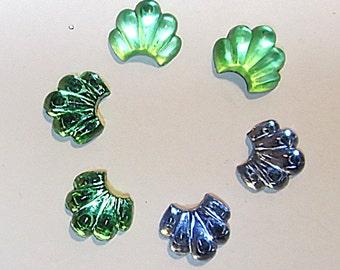 6 Glitterback Glass Cabes in Blue, Green and Matt Green