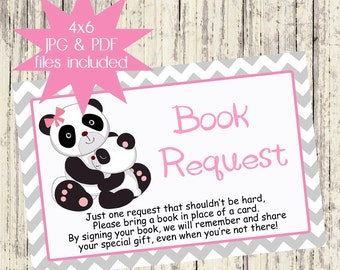 INSTANT DOWNLOAD - Printable Book Request Card - Matching Panda Baby Shower Invitation - Instant Download