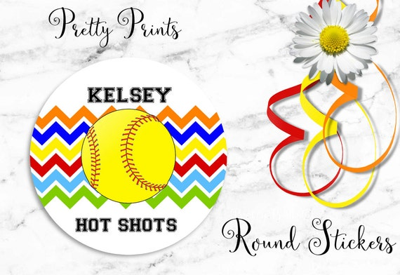 Softball Stickers - Personalized Stickers - Softball - Chevron, Set of 12 - Round Labels - Personalized Labels - Sports - Tags - Stickers