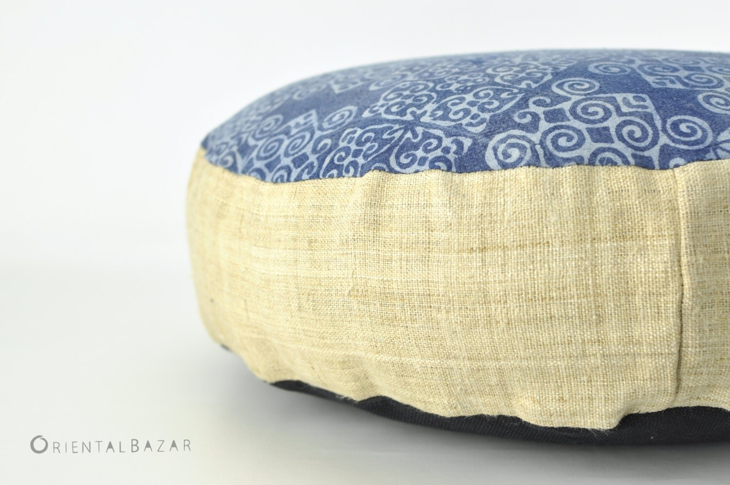 boho pillow pouf hemp hmong pillow batik round by orientalbazar. Black Bedroom Furniture Sets. Home Design Ideas
