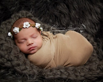 Baby Stretch Knit Wrap and Headband, Flower Halo and Wrap, Brown and White Prop, Newborn Baby Photo Prop.