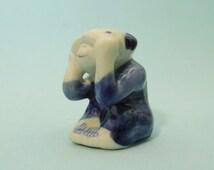 Miniature delft blue wise monkey figurine - see no evil monkey - year of the monkey 2016 - vintage