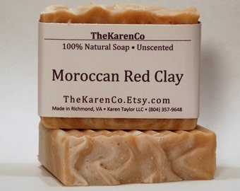 Red Clay Soap, Unscented Soap, Face Soap, Moroccan Red Clay, All Natural Soap, Handmade Soap, Red Clay
