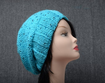 blue winter slouchy hat mom gifts women beanie girlfriend gift handmade knit beanie hat Christmas Gift