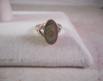 Vintage Sterling Silver Babies Ring With Inlayed Abalone Shell Size 2 Signed R11