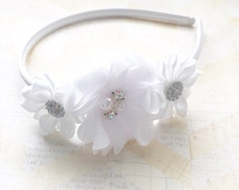 Hard white headband,flower girl headband,wedding headband,flower girl,satin headband,girls headband,1st communion headband