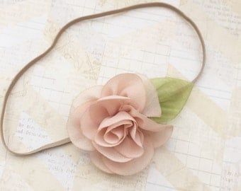 Beige headband,infant headband,dainty headband,newborn headband,girls headbands,baby headband,tan headbands,baby girl,flower headbands