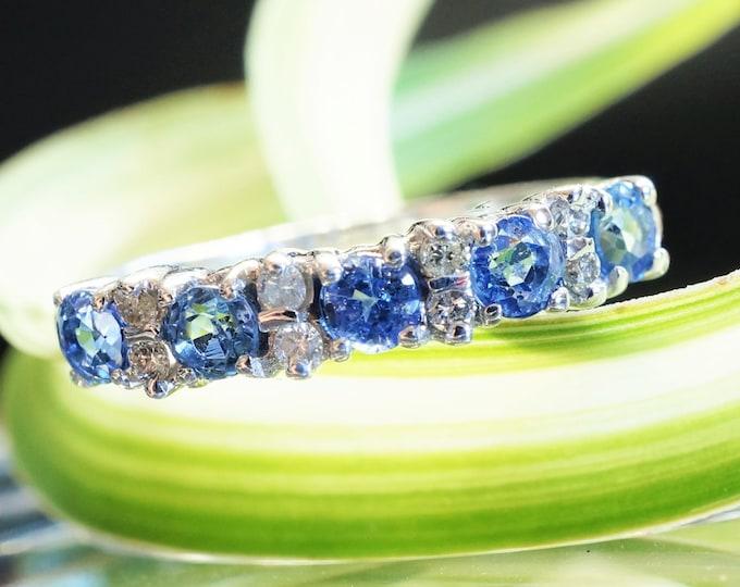 Sapphire eternity band-Blue sapphire engagement ring-Blue sapphire band-14K White Gold Ring-Women Jewelry-Anniversary ring-Multistones ring