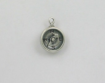 Sterling Silver 3-D Movable Compass Charm