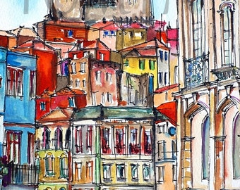 Porto, Portugal. Print from original art.