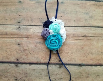 Shades of blue vintage headband, blue rosette headband, newborn photo props, newborn headband, small newborn headband