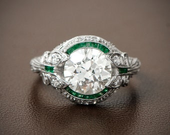 Rare and Pristine Art Deco Style Engagement Ring - Emerald and Diamond Halo - Bow Motif
