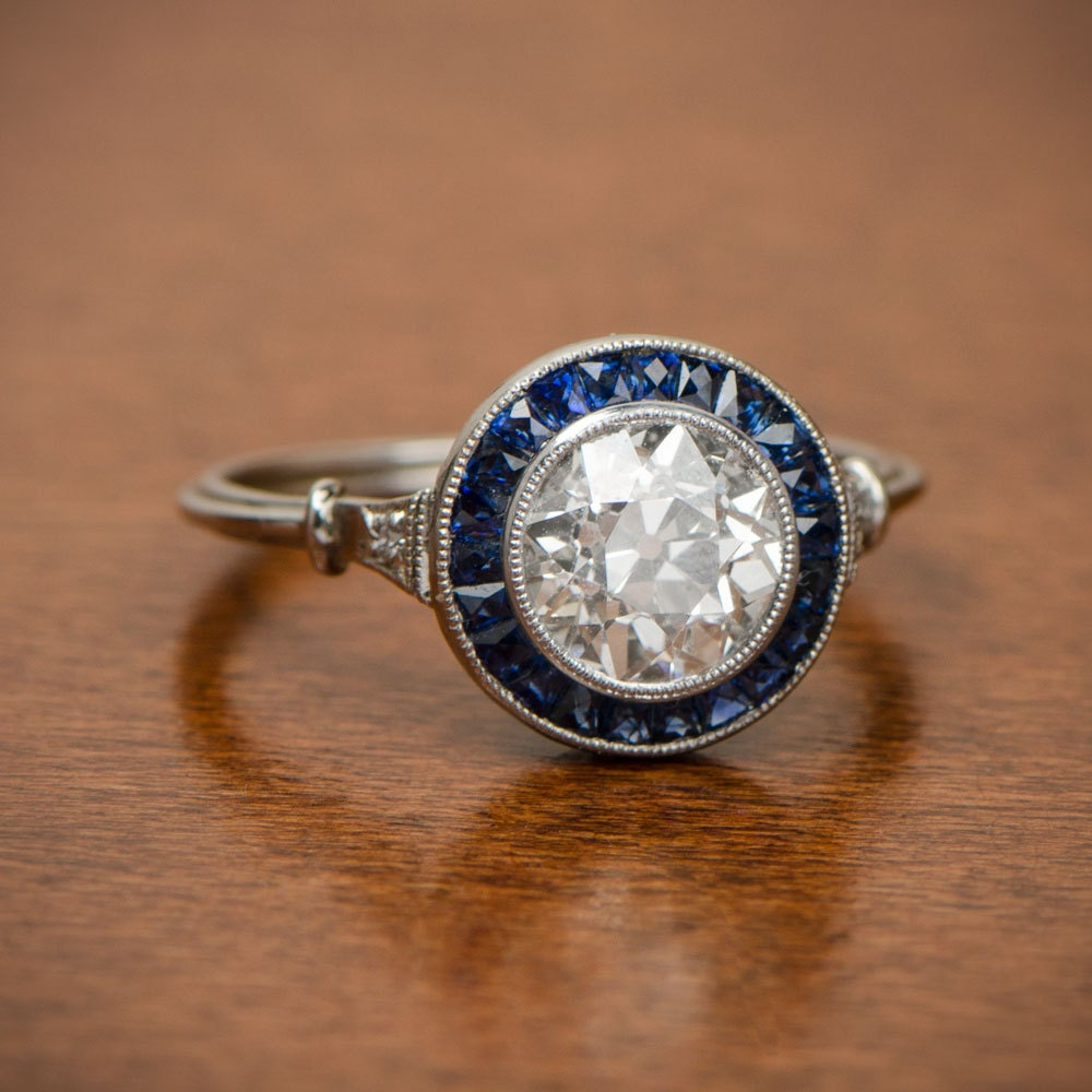 1 55ct Diamond And Sapphire Halo Engagement Ring