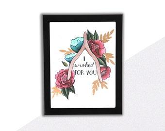 "Wishbone Art Print, ""I Wished For You"", Love Punny Art"