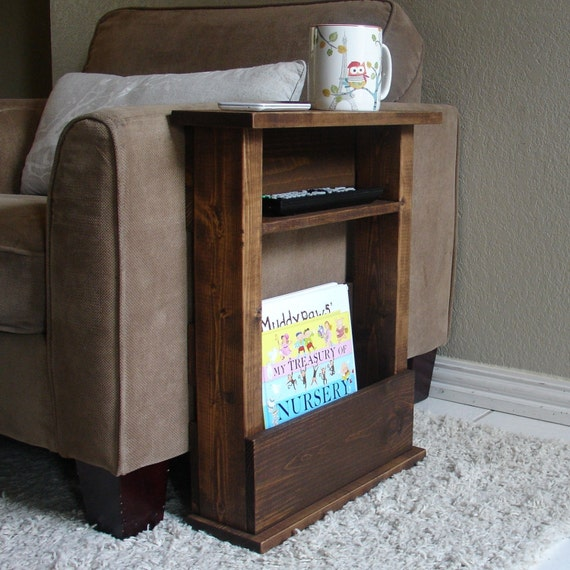 Sofa Chair Arm Rest Table Stand With Shelf And Storage Pocket