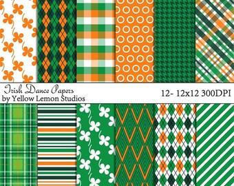 "St. Patrick's day ""IRISH DANCE"" orange, green, white, shamrock, plaid, argyle, stripe, Digital Scrapbook Paper Pack, 12""x12"", 300 dpi .jpg"