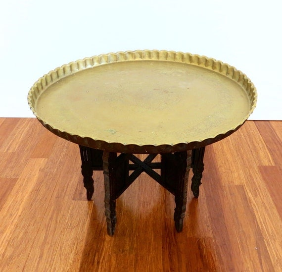Brass Tray Coffee Table Vintage: Vintage Middle Eastern Brass Tray Coffee By