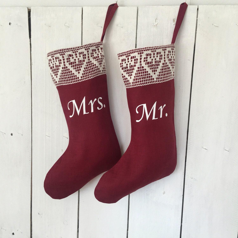 Personalized handmade christmas stockings mr and mrs for Custom made christmas stockings