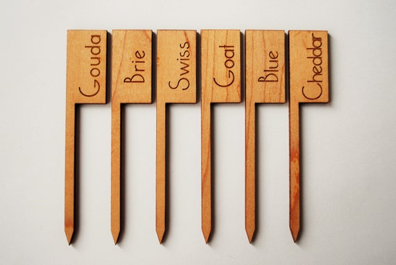 Wood Cheese Markers - Maple Cheese Flag - Laser Engraved Cheese Flags - Hostess Gift - Gifts for Cheese Lovers - Table Decor - Party Decor