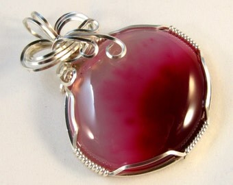 Janice - A Pink Agate Pendant, Wire Wrapped Pendant, Wire wrapped Jewelry, Agate Jewelry