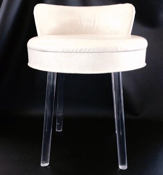 Vintage lucite acrylic swivel vanity boudior stool - Acrylic vanity chair ...