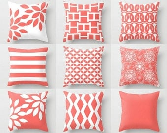 Coral Pillows, Decorative Pillow, Pillow Cover, Coral Throw Pillow,  Accent Pillow,  Bedding, Coral Euro, Cushion Cover (M35)