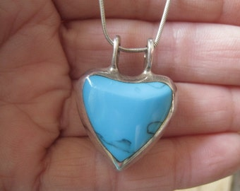 Sterling Silver Blue Turquoise Black Onyx Reversible Heart Pendant Necklace (30)