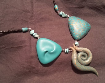Polymer Clay Necklace, Abstract Necklace